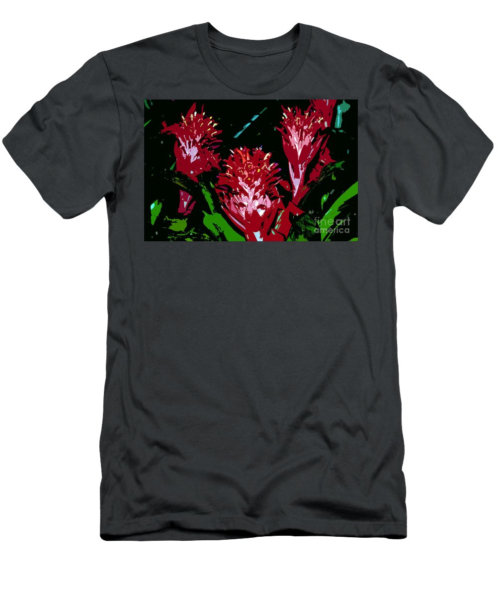 Red Men's T-Shirt (Athletic Fit) featuring the painting Flowers In Red by David Lee Thompson