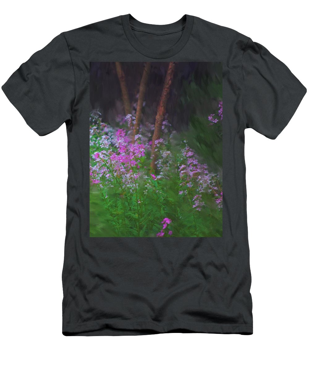 Landscape Men's T-Shirt (Athletic Fit) featuring the painting Flowers In The Woods by David Lane