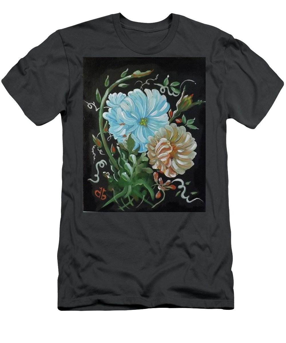 Flowers Men's T-Shirt (Athletic Fit) featuring the painting Flowers Surreal by Dolores Brittain