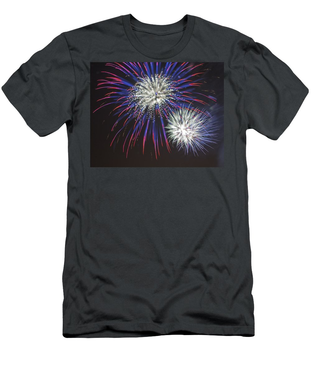 Fireworks Men's T-Shirt (Athletic Fit) featuring the photograph Flowerworks #4 by Sandy Swanson