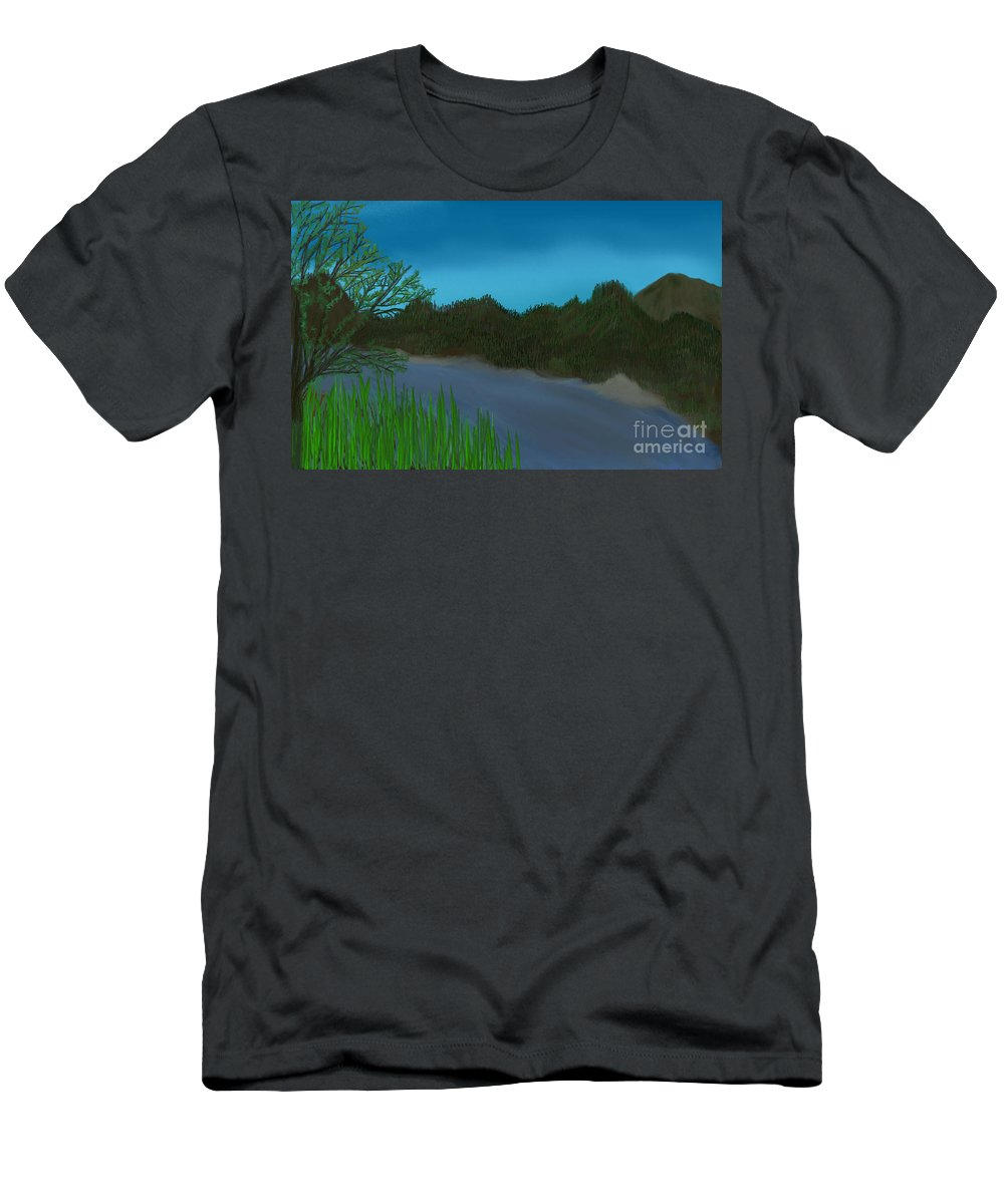 Landscape Men's T-Shirt (Athletic Fit) featuring the painting Flowing River by Darlene Gilbert