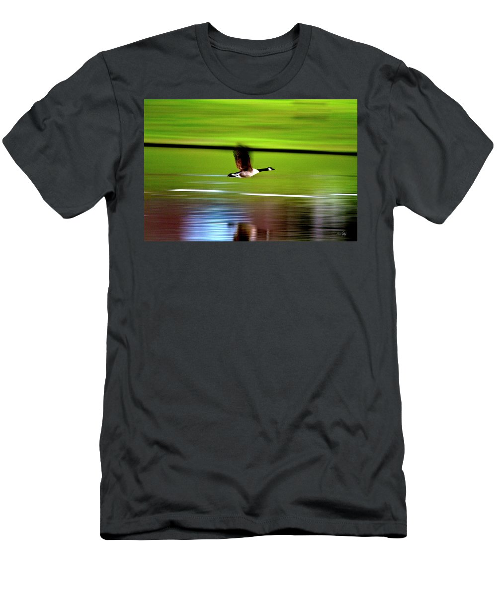 Goose Men's T-Shirt (Athletic Fit) featuring the photograph Fly-by by Scott Pellegrin