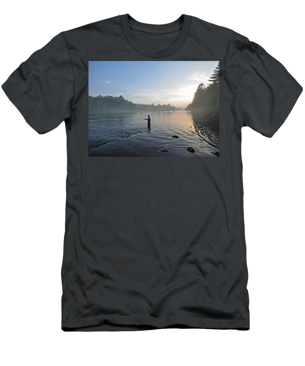 Fly Fishing Men's T-Shirt (Athletic Fit) featuring the photograph Fly Fishing 2 by Glenn Gordon