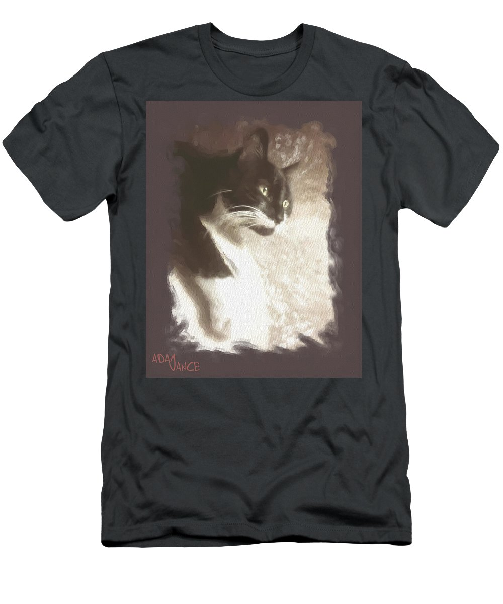 Animals Men's T-Shirt (Athletic Fit) featuring the mixed media Fly Watching by Adam Vance