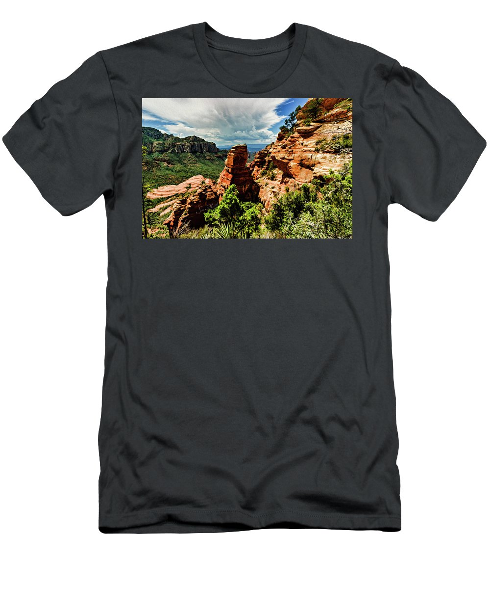 Sedona Men's T-Shirt (Athletic Fit) featuring the photograph Flying Buttress 04-004 by Scott McAllister