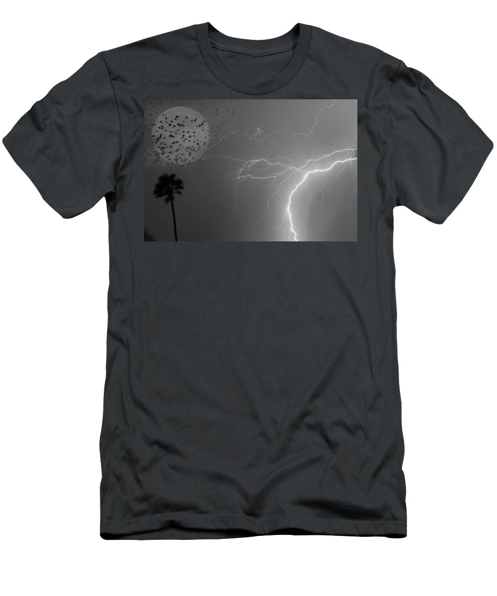 Black And White Men's T-Shirt (Athletic Fit) featuring the photograph Flying From The Storm Bw by James BO Insogna