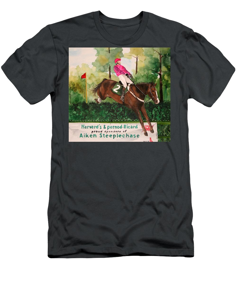 Horse Men's T-Shirt (Athletic Fit) featuring the painting Flying High by Jean Blackmer