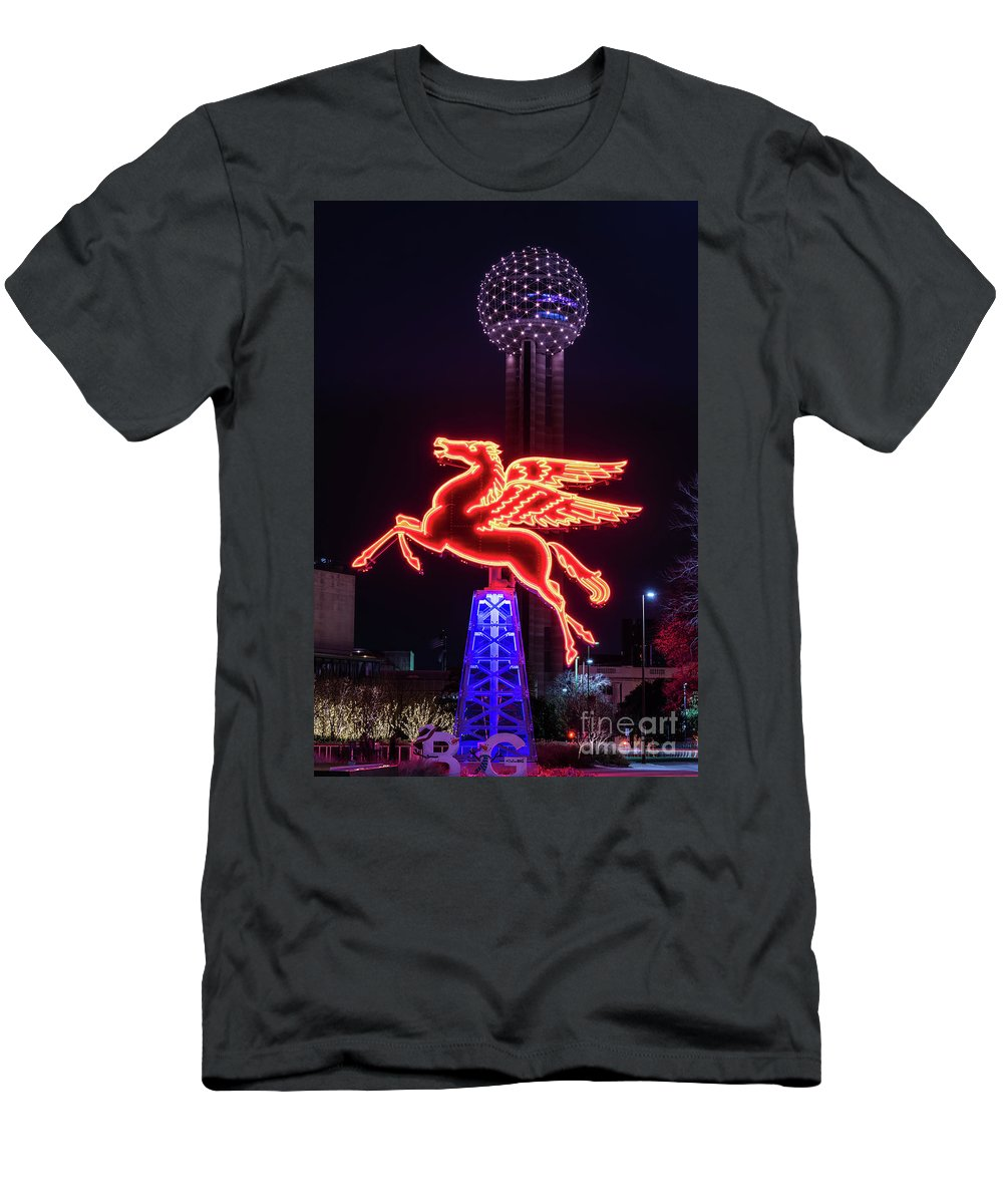 Dallas Men's T-Shirt (Athletic Fit) featuring the photograph Flying Pegasus And Reunion Tower Night by Tod and Cynthia Grubbs