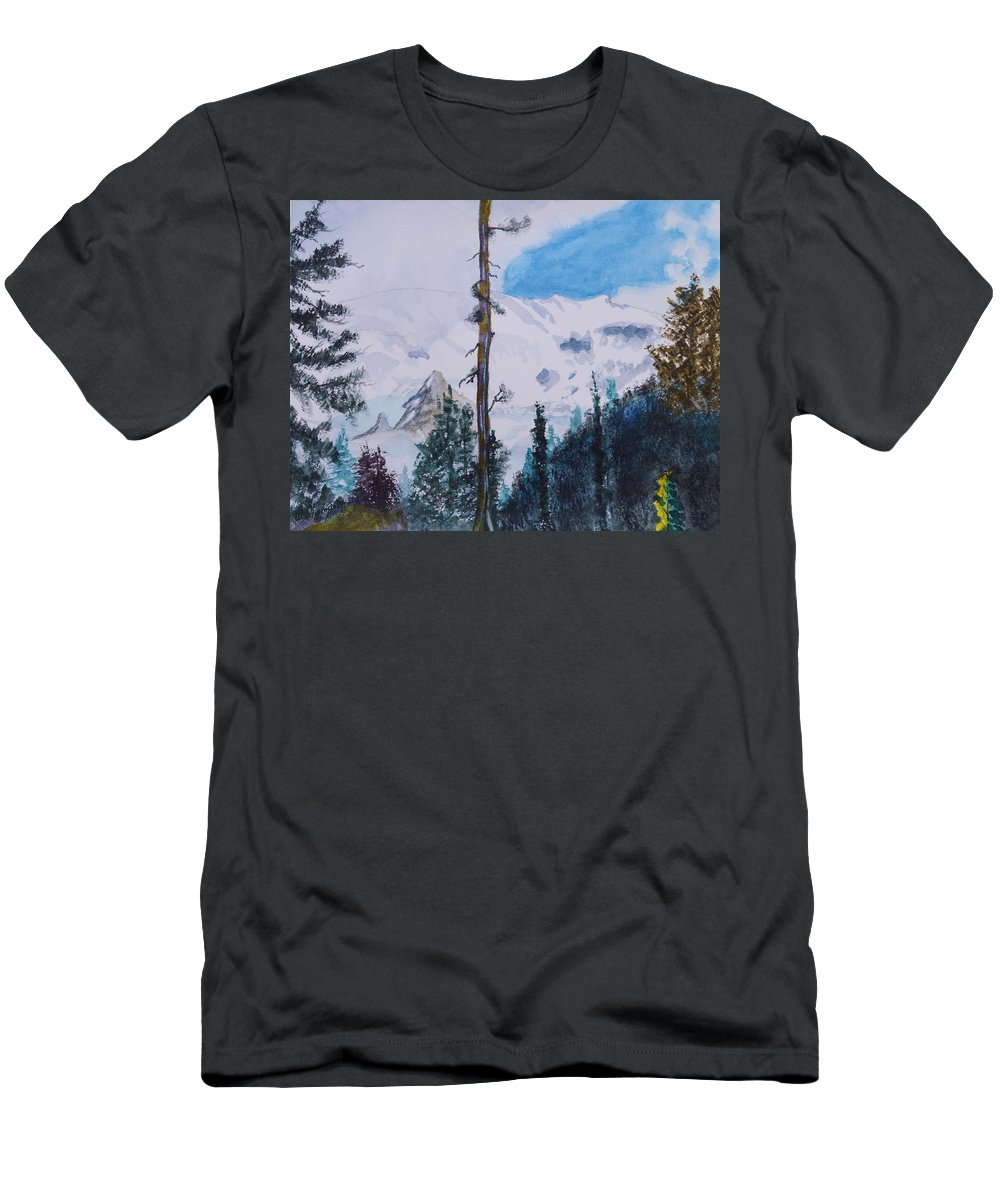 Fog On Mt. Rainer Men's T-Shirt (Athletic Fit) featuring the painting Fog On Mt. Rainer by Warren Thompson