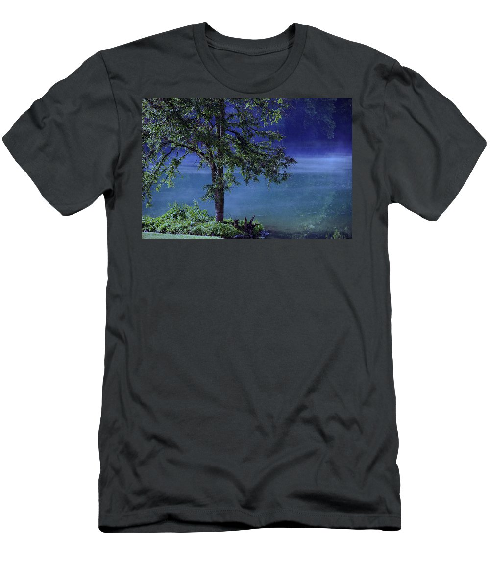 Landscape Men's T-Shirt (Athletic Fit) featuring the photograph Fog Over The Pond by Susanne Van Hulst