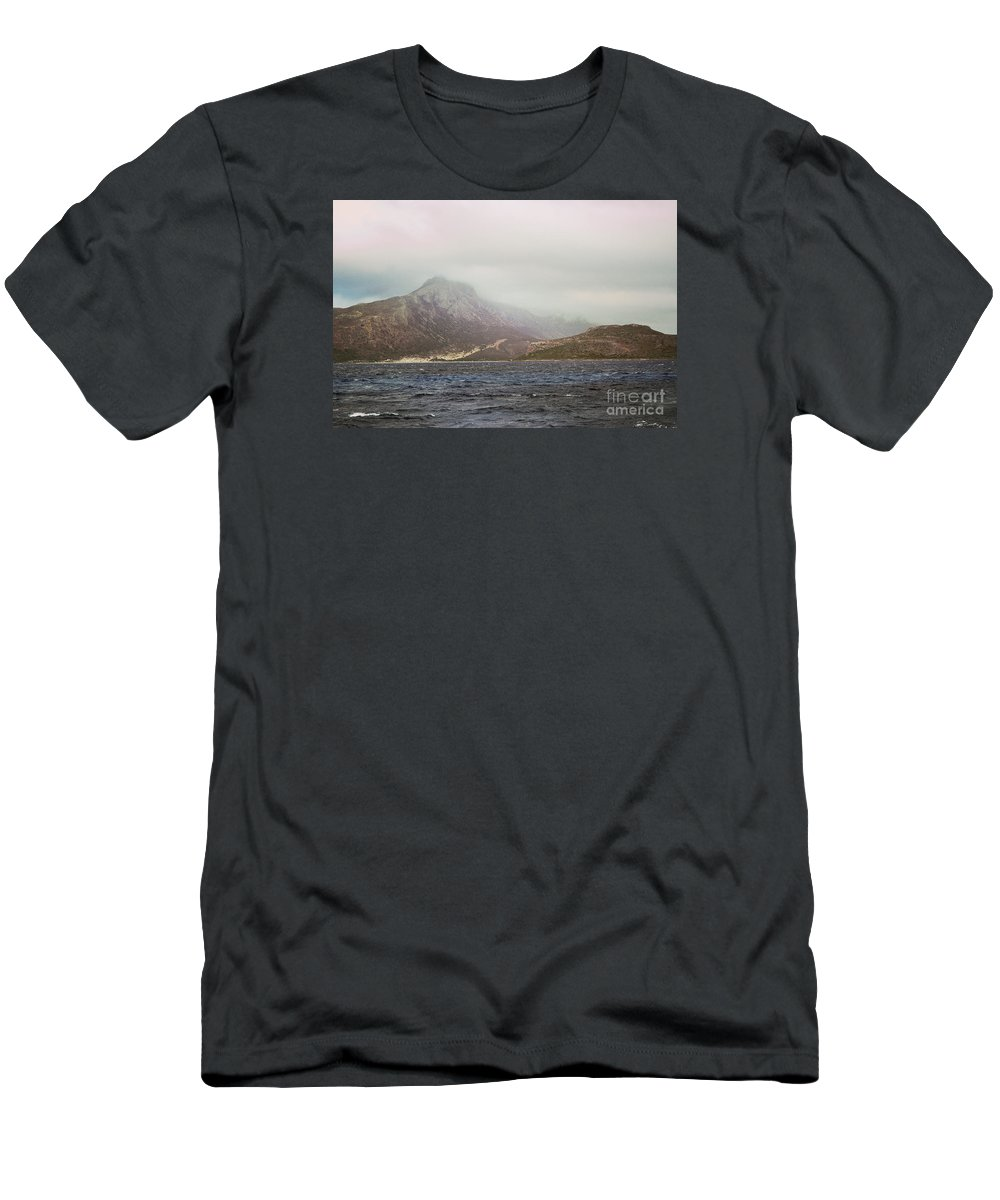 Water Men's T-Shirt (Athletic Fit) featuring the photograph Fog, Wind And Waves by Remioni Art
