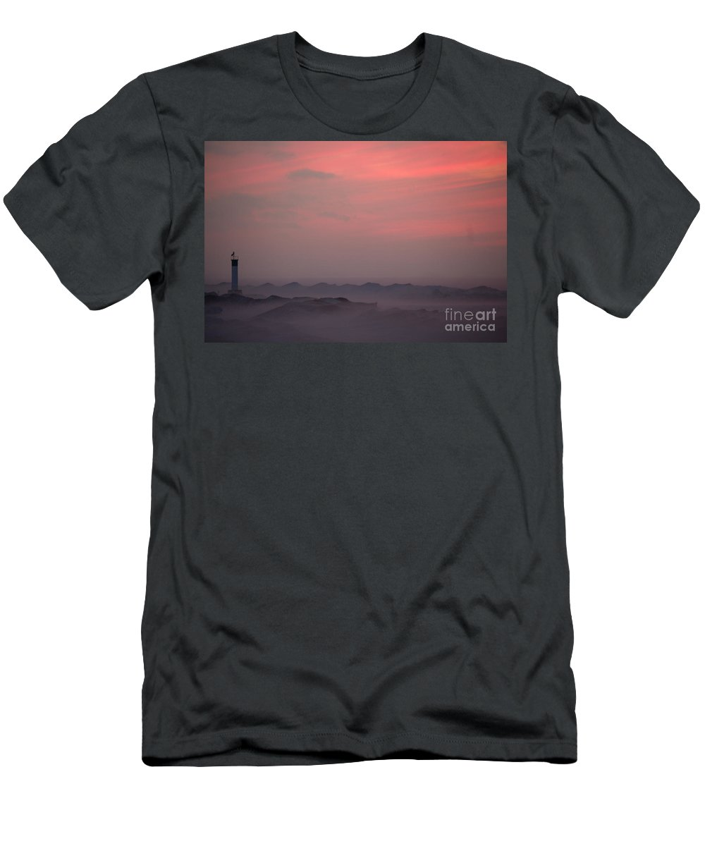 Grand Bend Men's T-Shirt (Athletic Fit) featuring the photograph Foggy Lighthouse by John Scatcherd