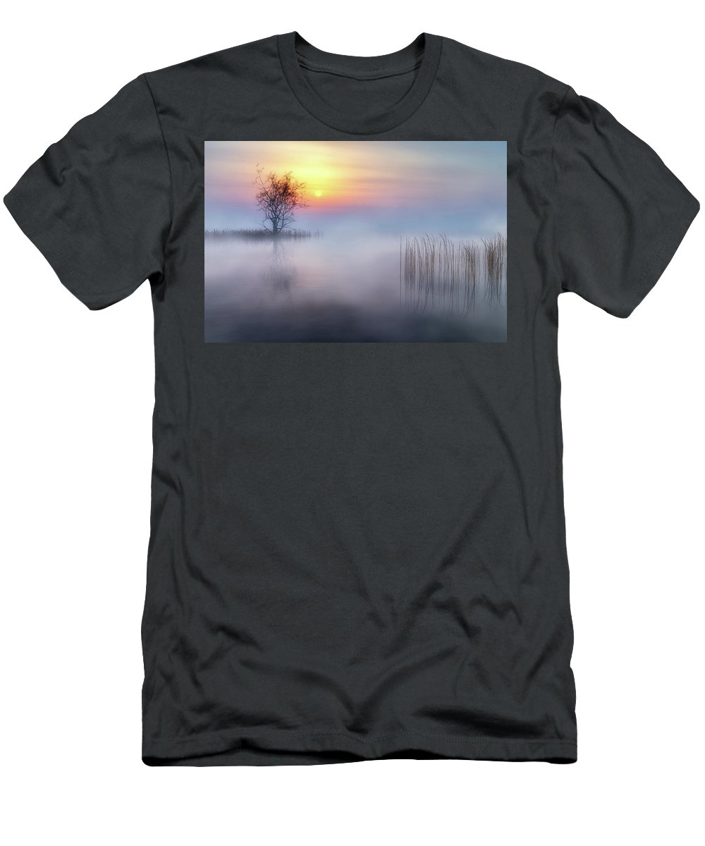 Fog Men's T-Shirt (Athletic Fit) featuring the digital art Foggy Tree 2 by Andreas Hoops