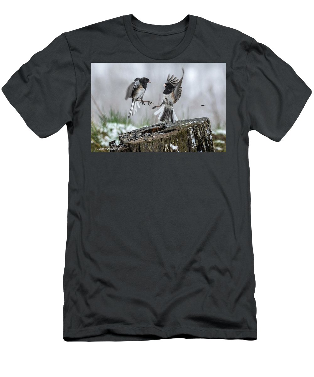 Birds Men's T-Shirt (Athletic Fit) featuring the photograph Food Fight by Mary Sword