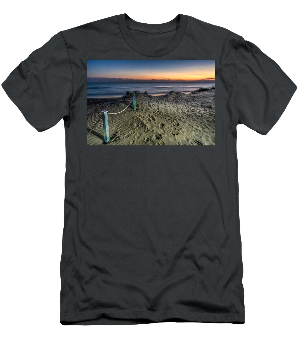 Beach Men's T-Shirt (Athletic Fit) featuring the photograph Footsteps In The Sand by Peter Hayward Photographer