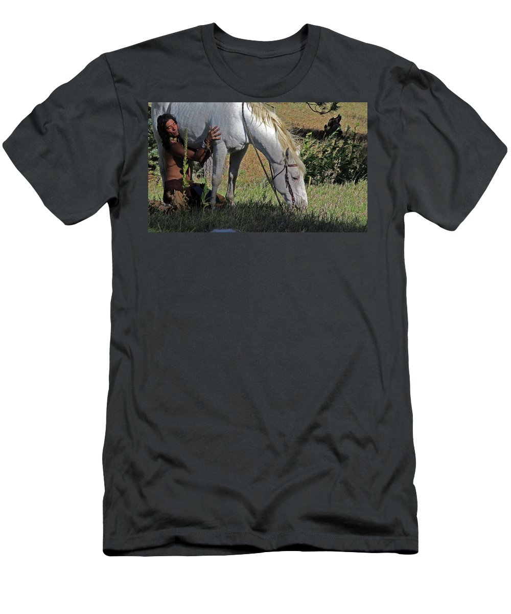Native American Men's T-Shirt (Athletic Fit) featuring the photograph For The Love Of His Horse by Samantha Burrow