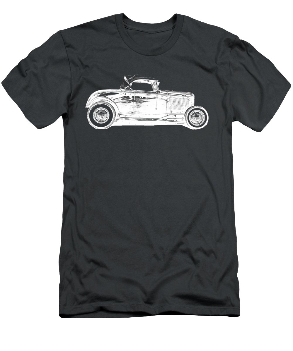 Ford Men's T-Shirt (Athletic Fit) featuring the drawing Ford Hot Rod Invert White Ink Tee by Edward Fielding