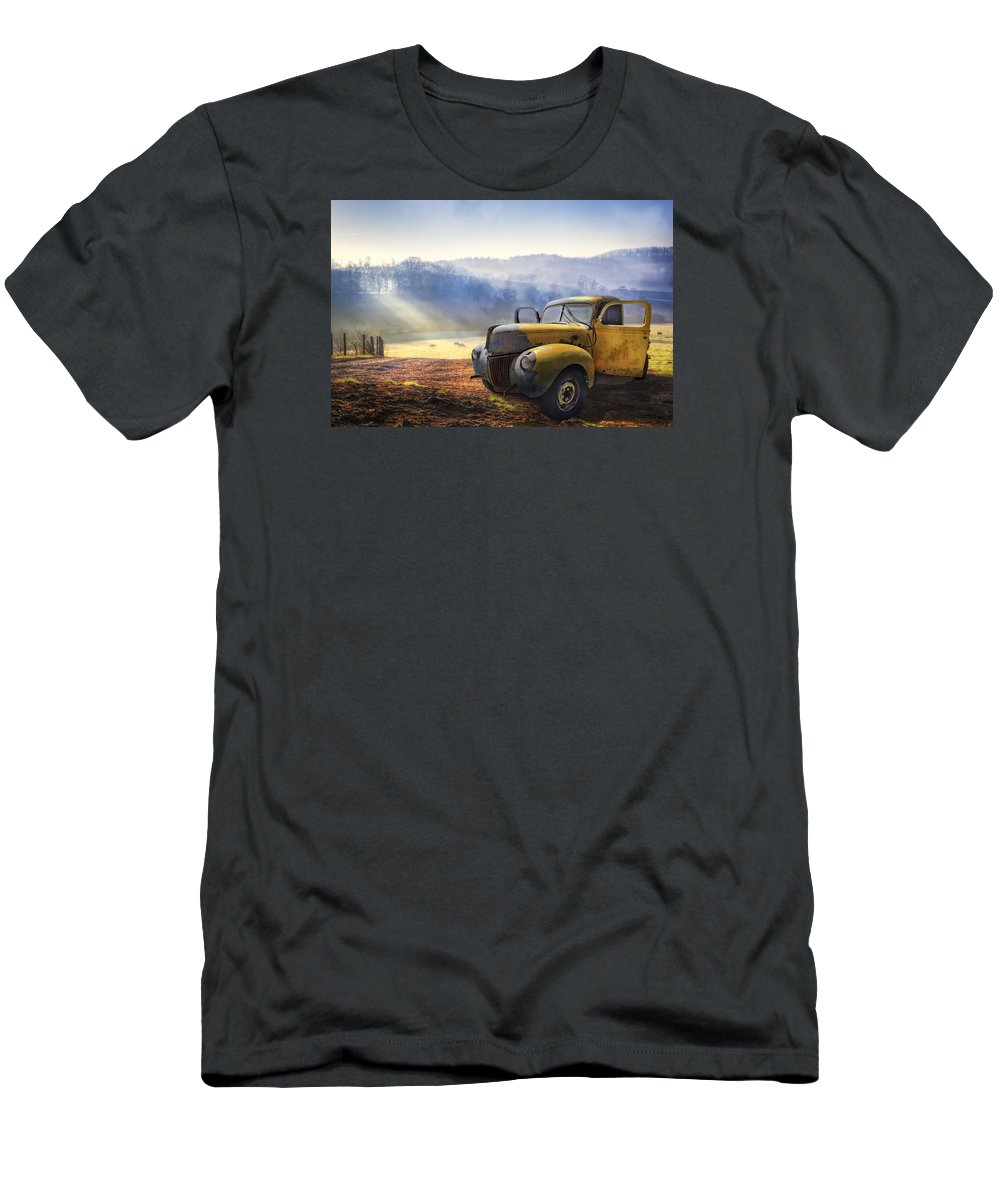 Appalachia T-Shirt featuring the photograph Ford in the Fog by Debra and Dave Vanderlaan