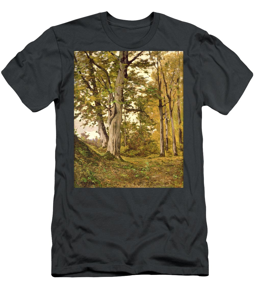 Forest Men's T-Shirt (Athletic Fit) featuring the painting Forest At Fontainebleau by Henri-Joseph Harpignies