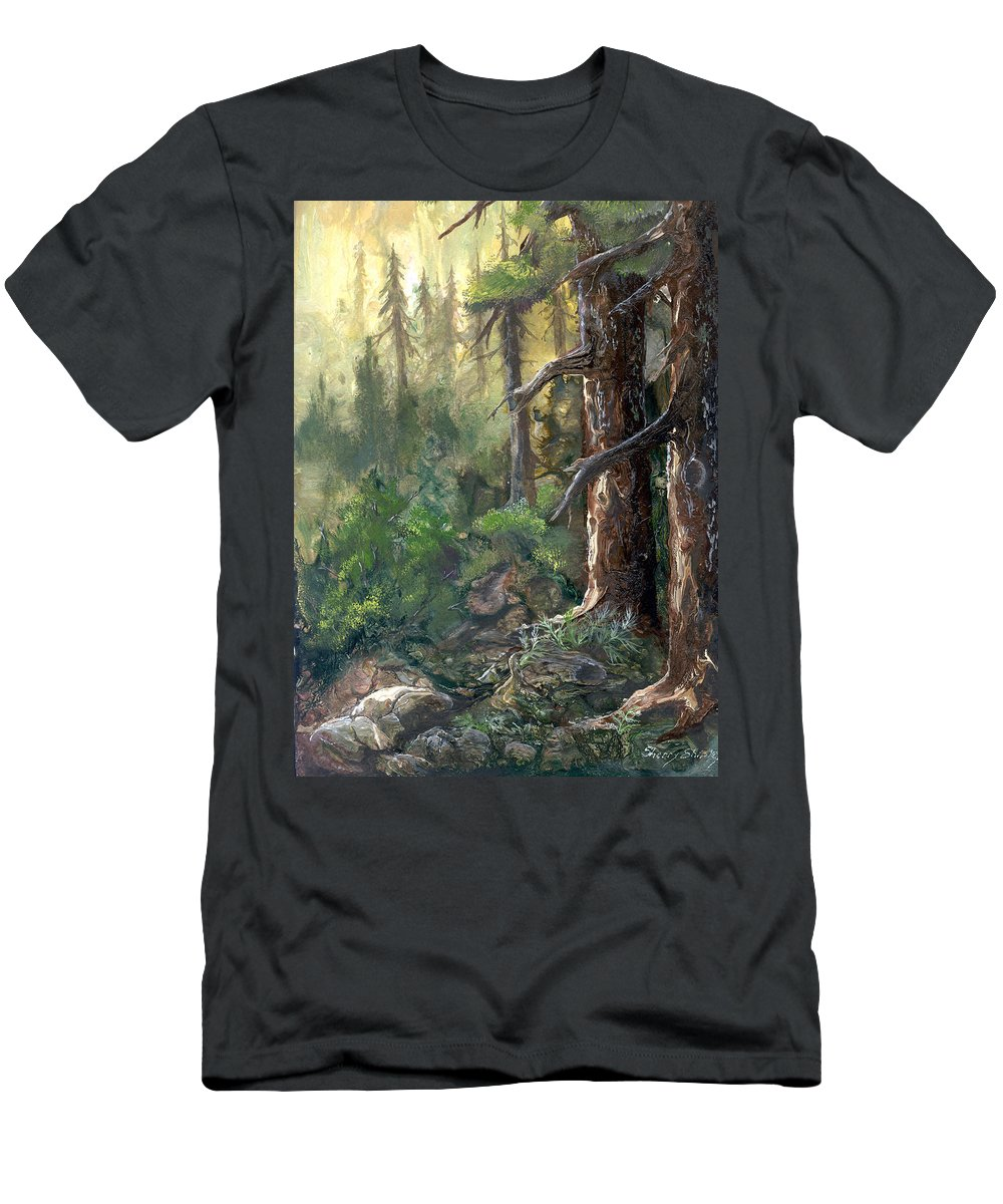 Trees Men's T-Shirt (Athletic Fit) featuring the painting Forest Deep by Sherry Shipley