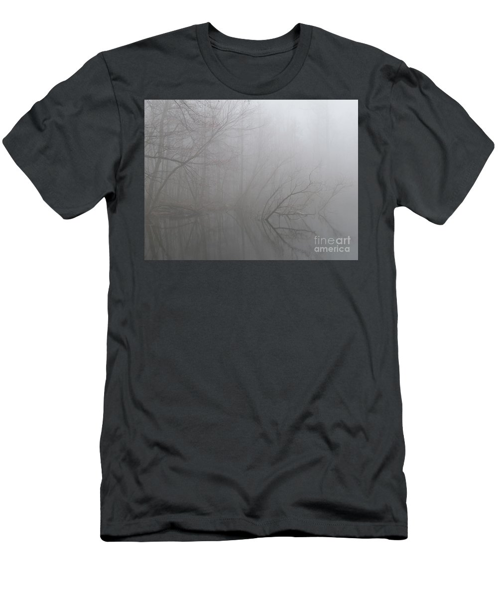 Foggy Forest Reflection Forest Fog Landscape Gray Landscape Foggy Trees Mountain Mist Woodland Fog Trees In The Mist Foggy Trees Men's T-Shirt (Athletic Fit) featuring the photograph Forest Fog Reflection by Joshua Bales