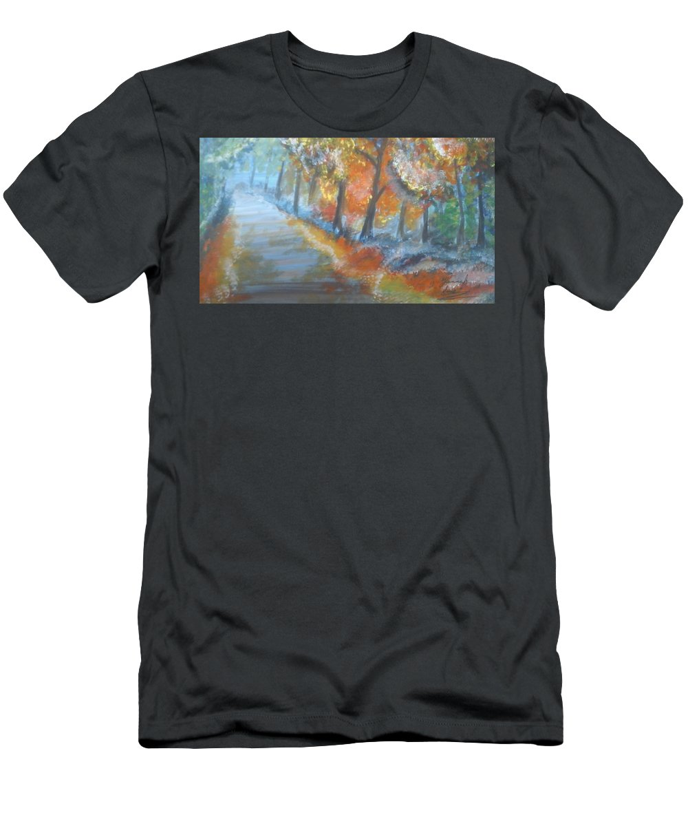 Path Men's T-Shirt (Athletic Fit) featuring the painting Forest Path.... by Hannah Firezar