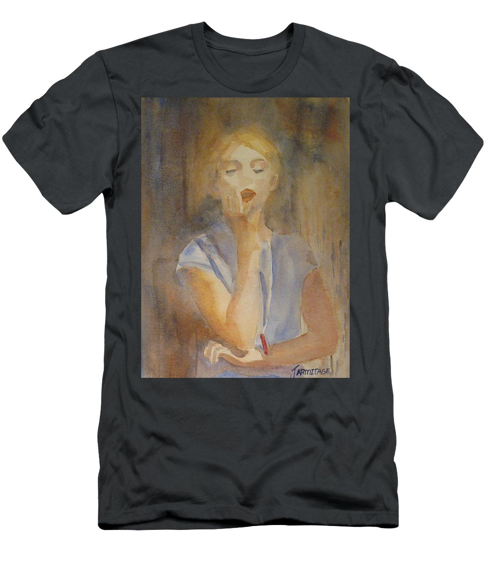 Woman Men's T-Shirt (Athletic Fit) featuring the painting Forest Singer by Jenny Armitage