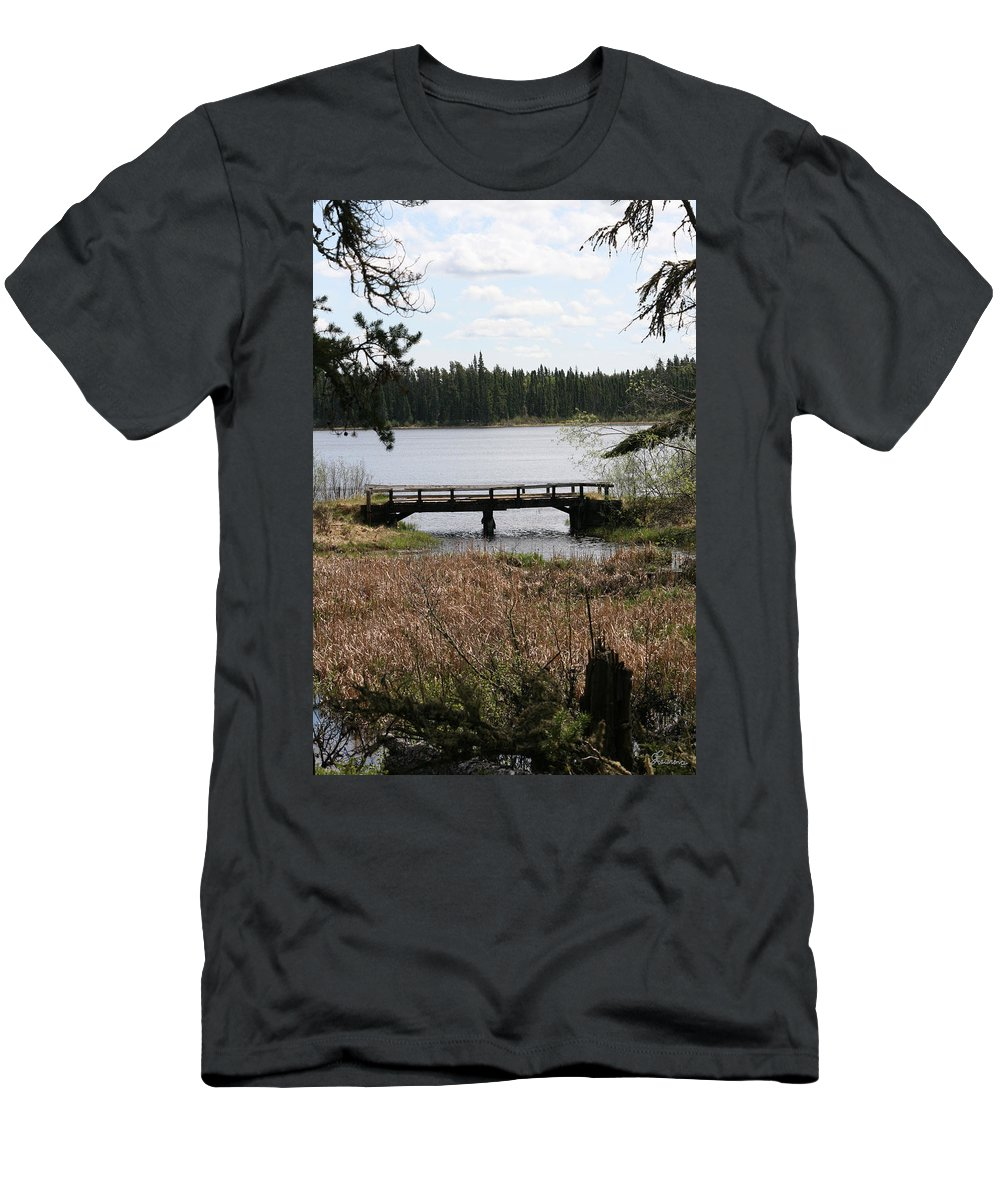 Lake Water Scenery Bridge Flooding Forest Nature Beauty Trees Men's T-Shirt (Athletic Fit) featuring the photograph Forgotten by Andrea Lawrence