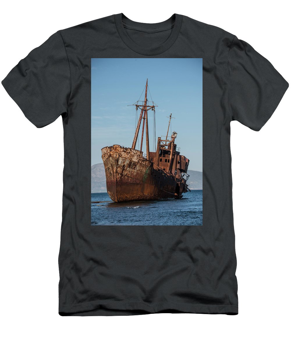 Ship Men's T-Shirt (Athletic Fit) featuring the photograph Forgotten Ship Wreck by Jaroslaw Blaminsky