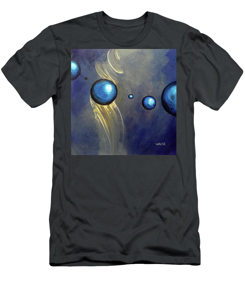 Abstract Ball Sphere Energy Blue Yellow Men's T-Shirt (Athletic Fit) featuring the painting Formant Glide by Beth Waltz