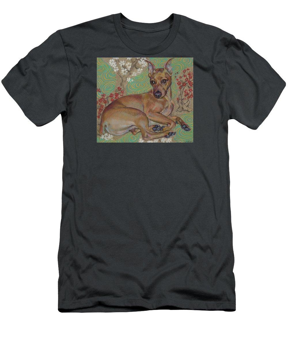 Dog Portrait Men's T-Shirt (Athletic Fit) featuring the painting Mini-pinscher by Jane Oriel