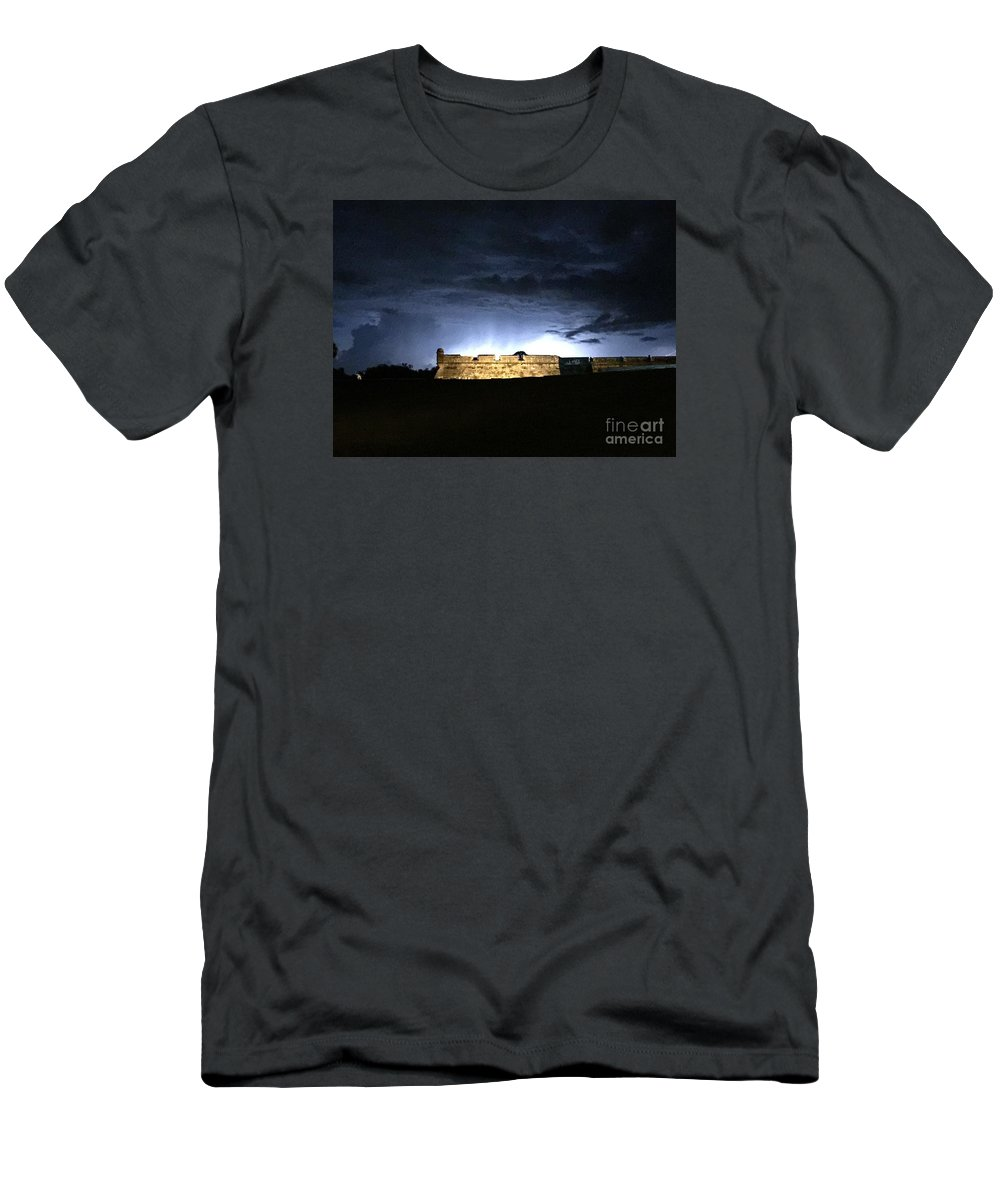 St. Augustine Men's T-Shirt (Athletic Fit) featuring the photograph Lightening At Castillo De San Marco by LeeAnn Kendall