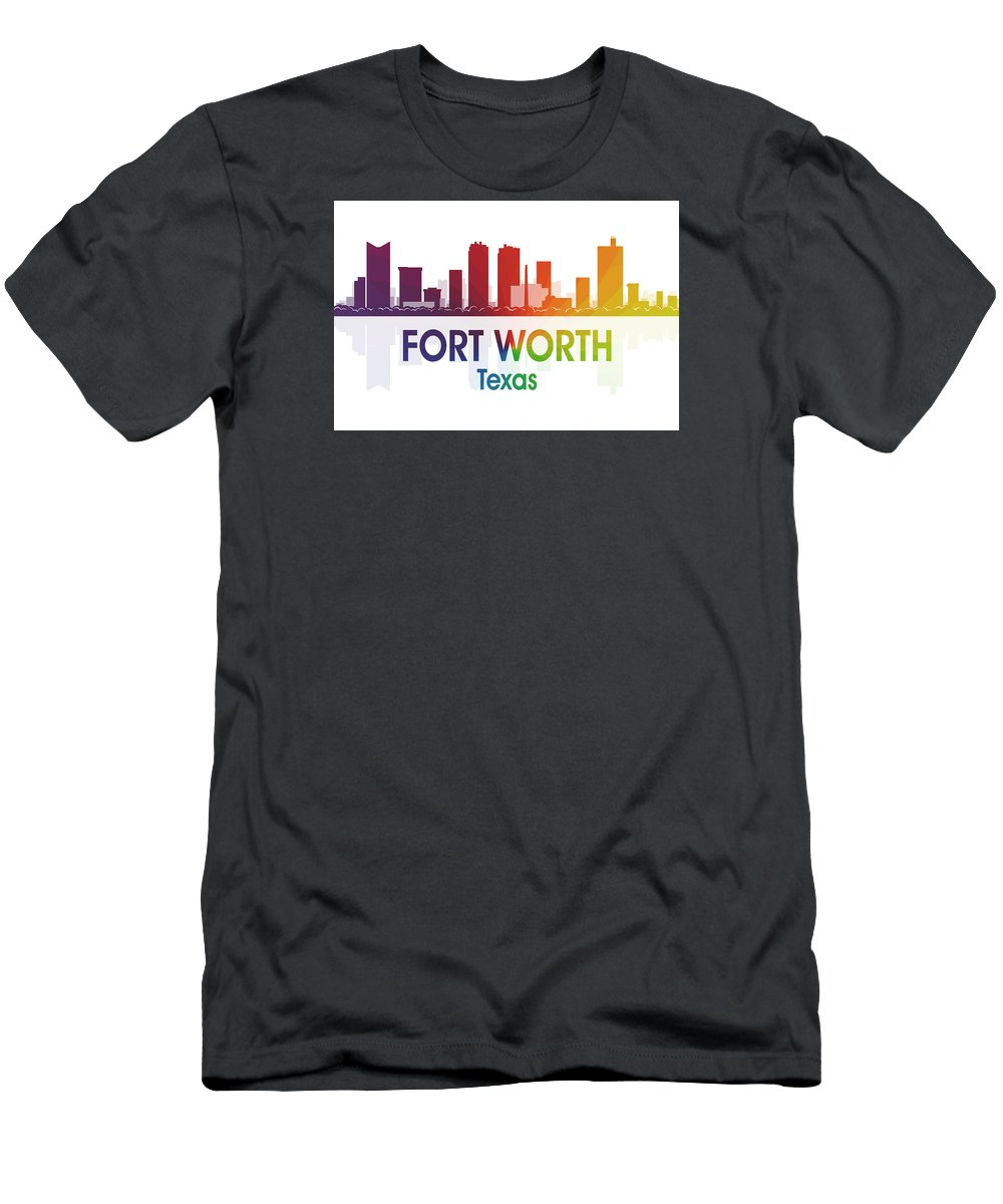 Fort Worth Men's T-Shirt (Athletic Fit) featuring the digital art Fort Worth Tx by Angelina Vick