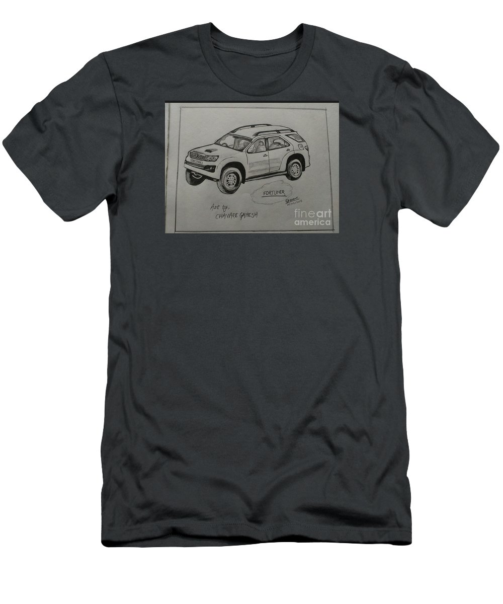 Landscape Men's T-Shirt (Athletic Fit) featuring the drawing Fortuner by Ganesh Chavare