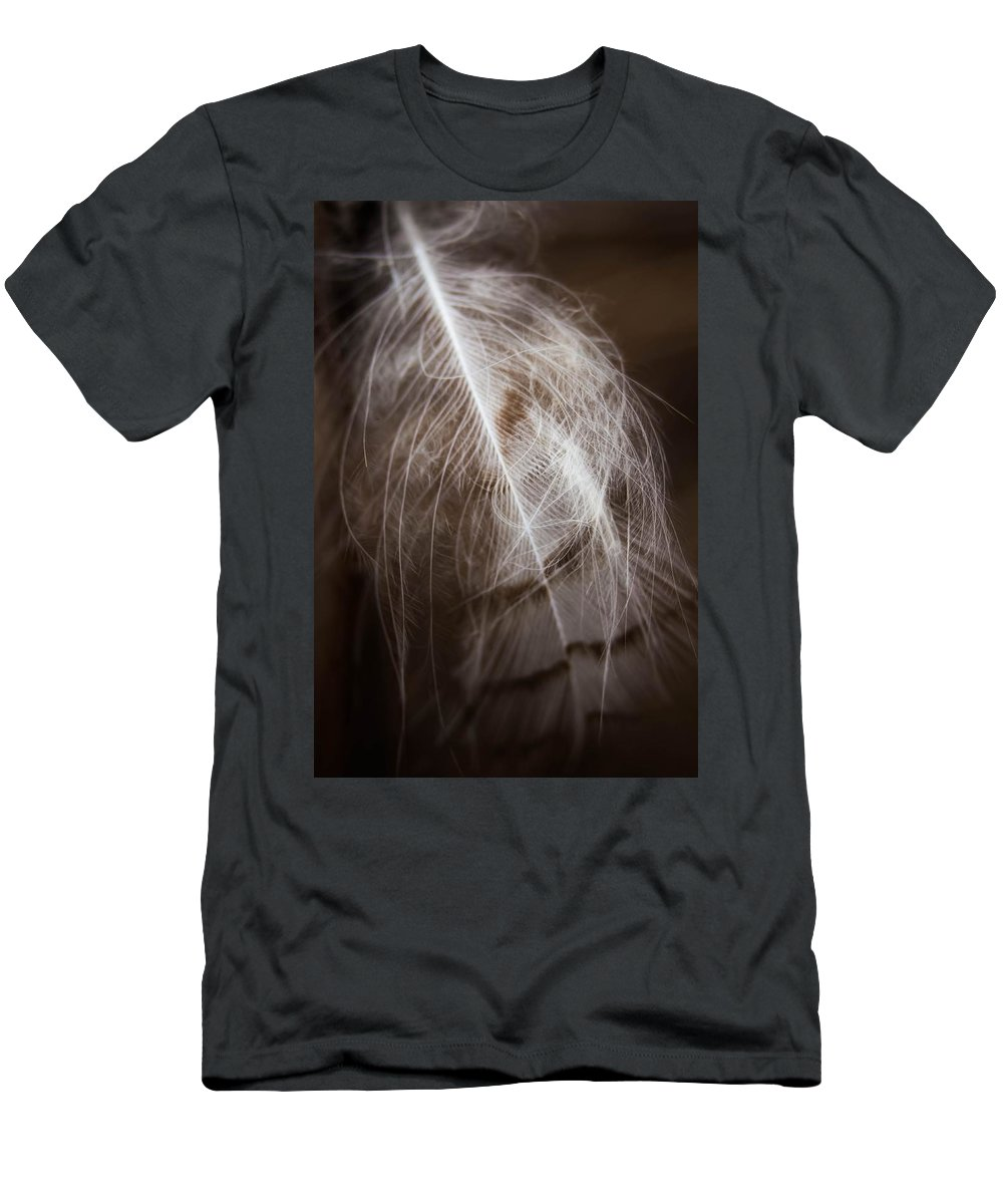 Feather Men's T-Shirt (Athletic Fit) featuring the photograph Found Feather by Jeanette Fellows