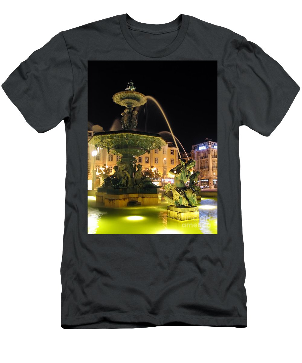 Portugal Men's T-Shirt (Athletic Fit) featuring the photograph Fountain In Rossio Square by Jose Elias - Sofia Pereira