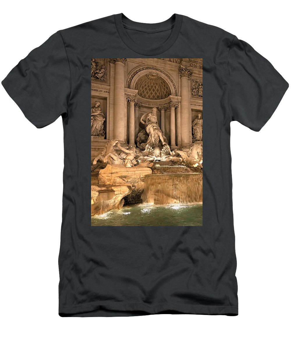 Italy Men's T-Shirt (Athletic Fit) featuring the photograph Fountain Lights by Janet Fikar