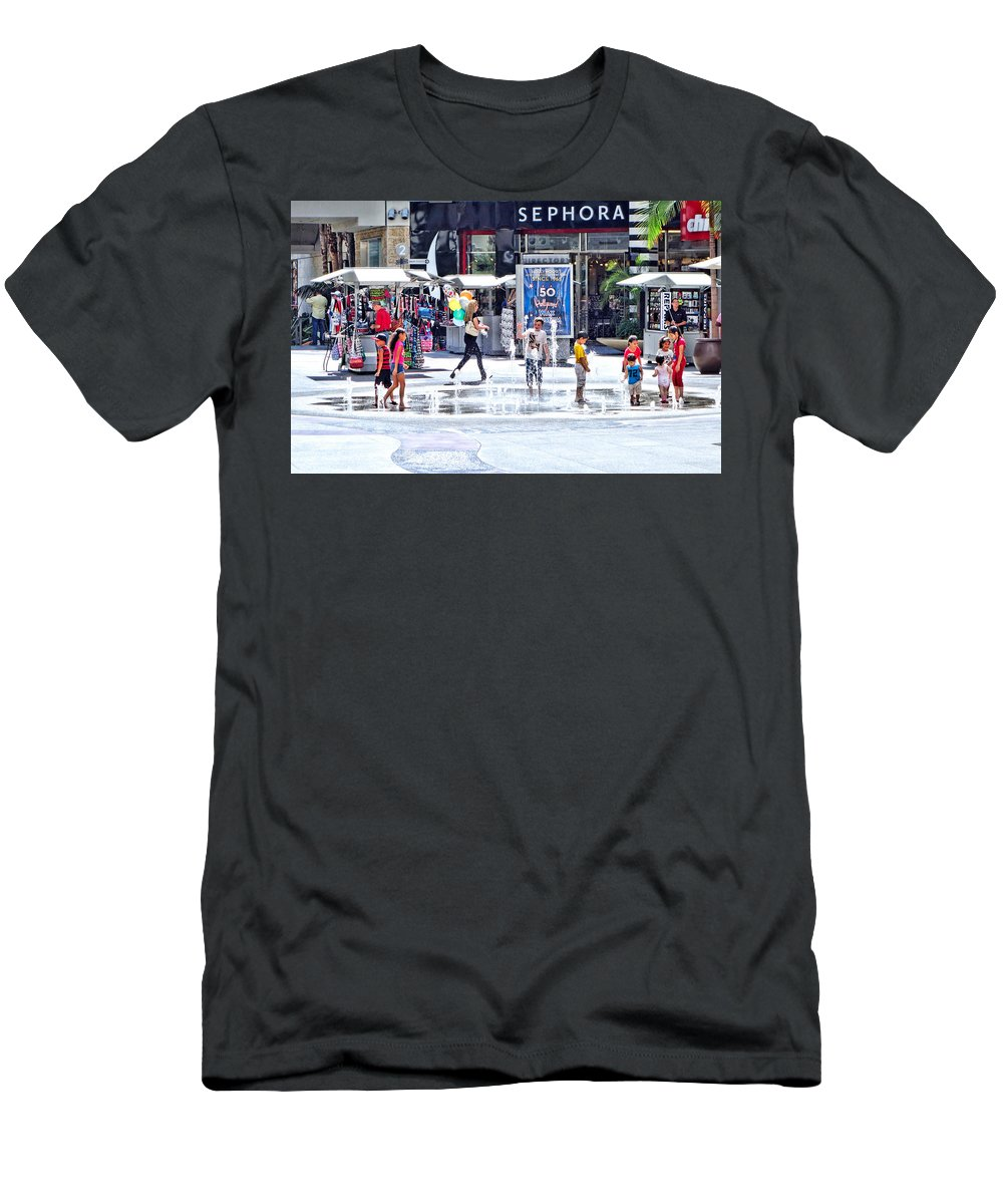 Fountain Men's T-Shirt (Athletic Fit) featuring the photograph Fountain Party by Robert Meyers-Lussier