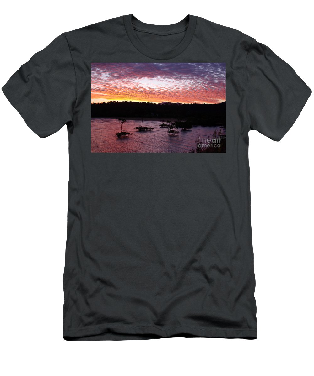 Landscape Men's T-Shirt (Athletic Fit) featuring the photograph Four Elements Sunset Sequence 3 Coconuts Qld by Kerryn Madsen - Pietsch