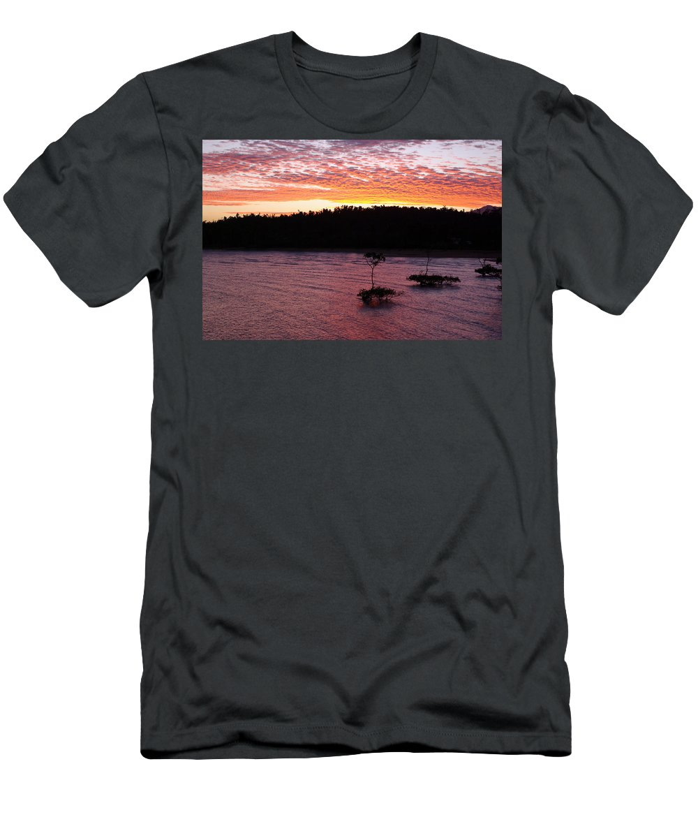 Landscape Men's T-Shirt (Athletic Fit) featuring the photograph Four Elements Sunset Sequence 5 Coconuts Qld by Kerryn Madsen - Pietsch