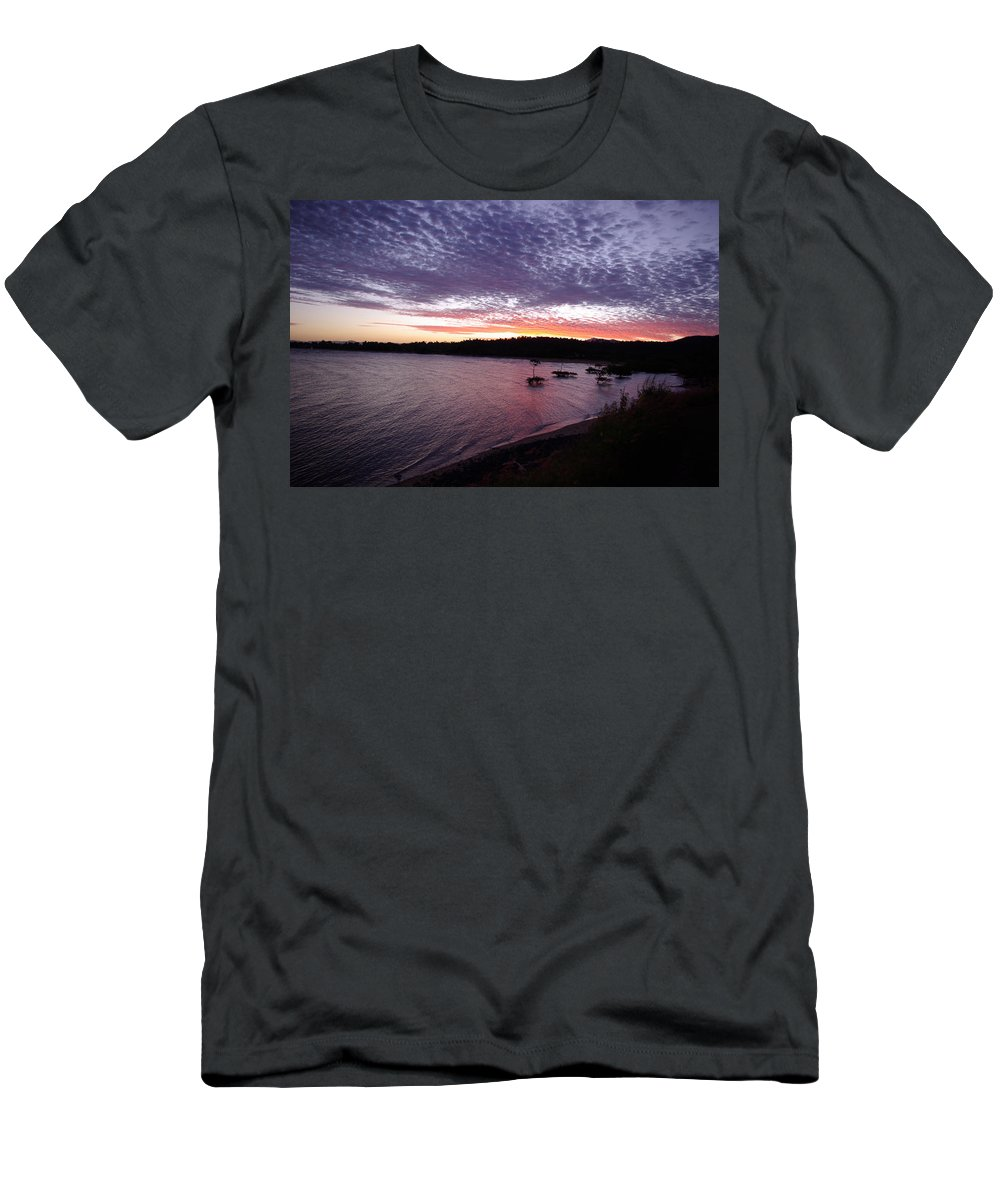 Landscape Men's T-Shirt (Athletic Fit) featuring the photograph Four Elements Sunset Sequence 6 Coconuts Qld by Kerryn Madsen-Pietsch