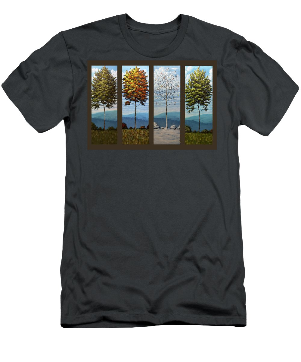 Landscape Men's T-Shirt (Athletic Fit) featuring the painting Four Seasons by Dan Wheeler