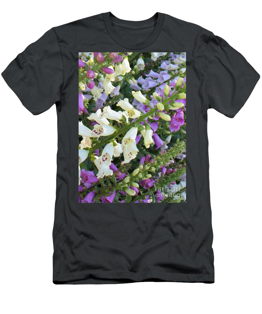 Purple And White Foxglove Men's T-Shirt (Athletic Fit) featuring the photograph Foxglove Fancy by Carol Groenen