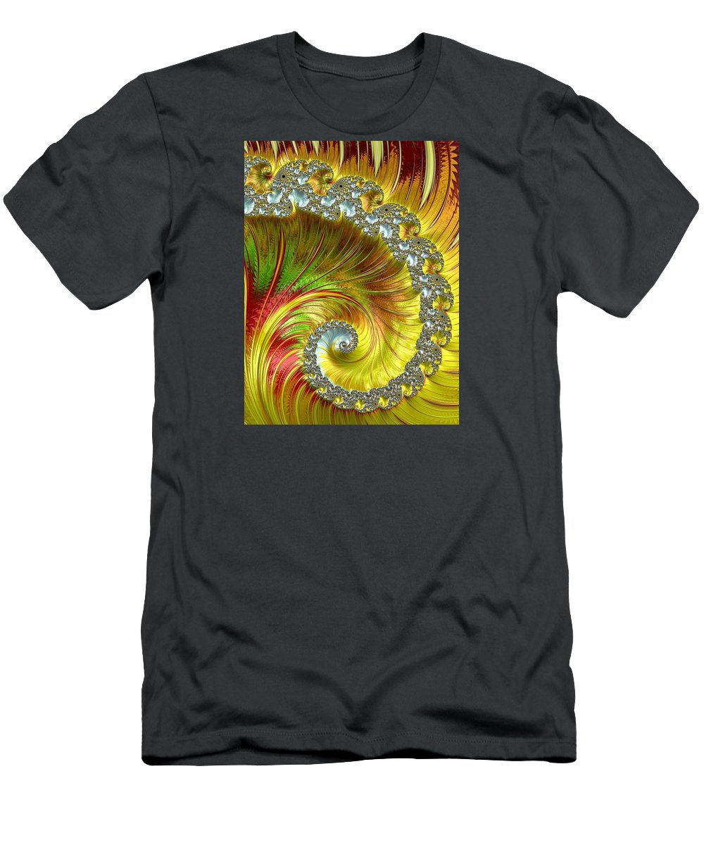 Fractal Men's T-Shirt (Athletic Fit) featuring the photograph Fractal Spiral Three by Mo Barton
