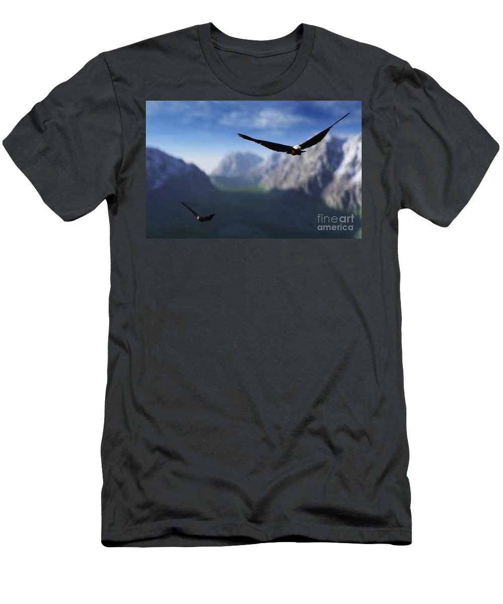 Eagles Men's T-Shirt (Athletic Fit) featuring the digital art Free Bird by Richard Rizzo