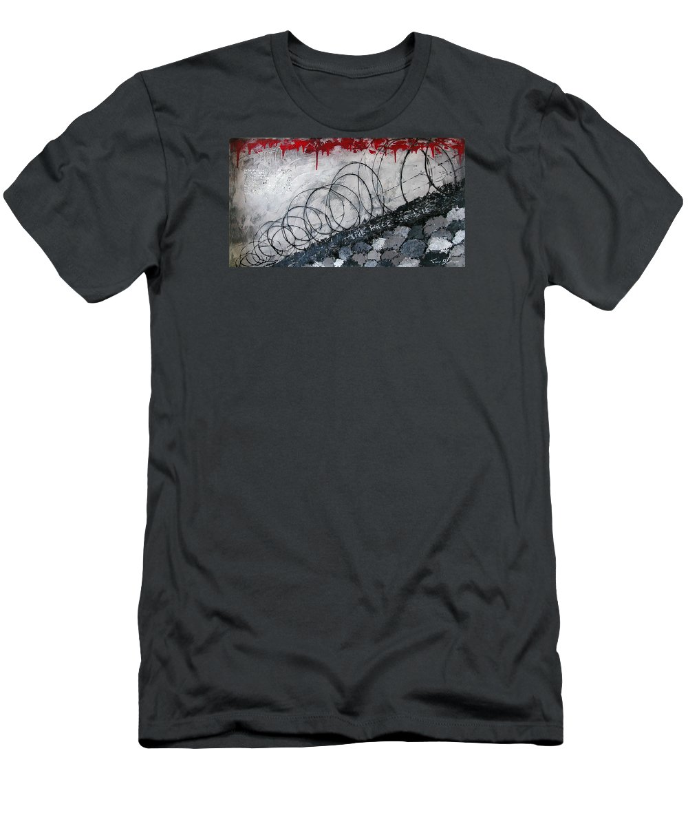 Abstract Expressionism Men's T-Shirt (Athletic Fit) featuring the painting Freedom - Award To The Brave by Tony A Blue