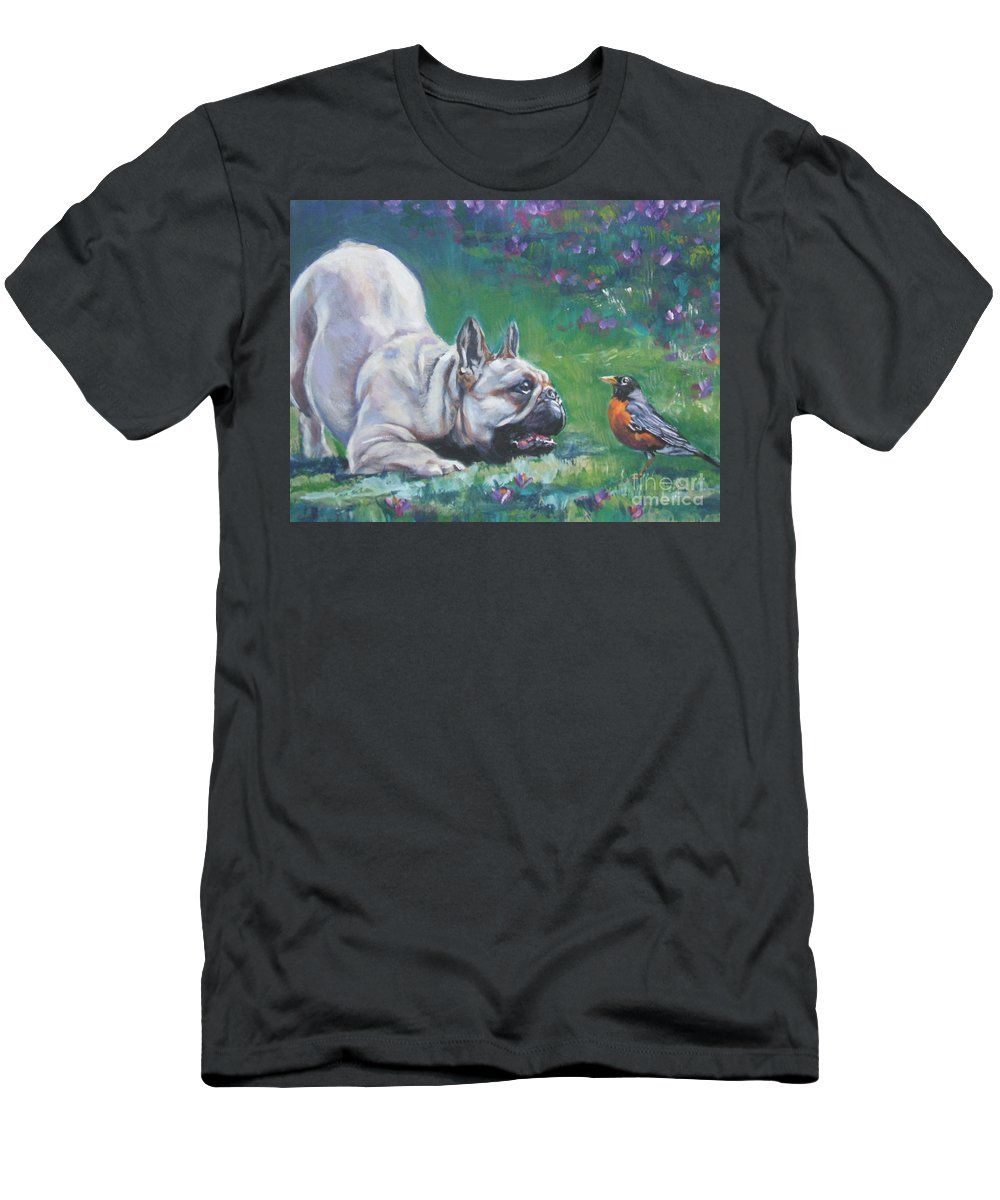 Dog Men's T-Shirt (Athletic Fit) featuring the painting French Bulldog Meets Robin Redbreast by Lee Ann Shepard
