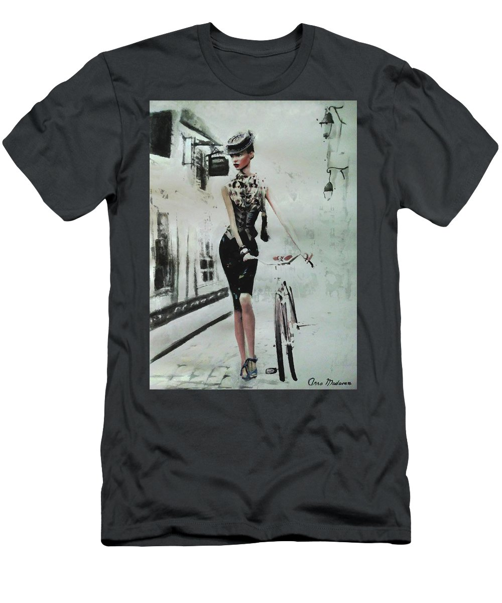 French Woman Fashion Imagery Men's T-Shirt (Athletic Fit) featuring the painting French District by Anna Madarasz