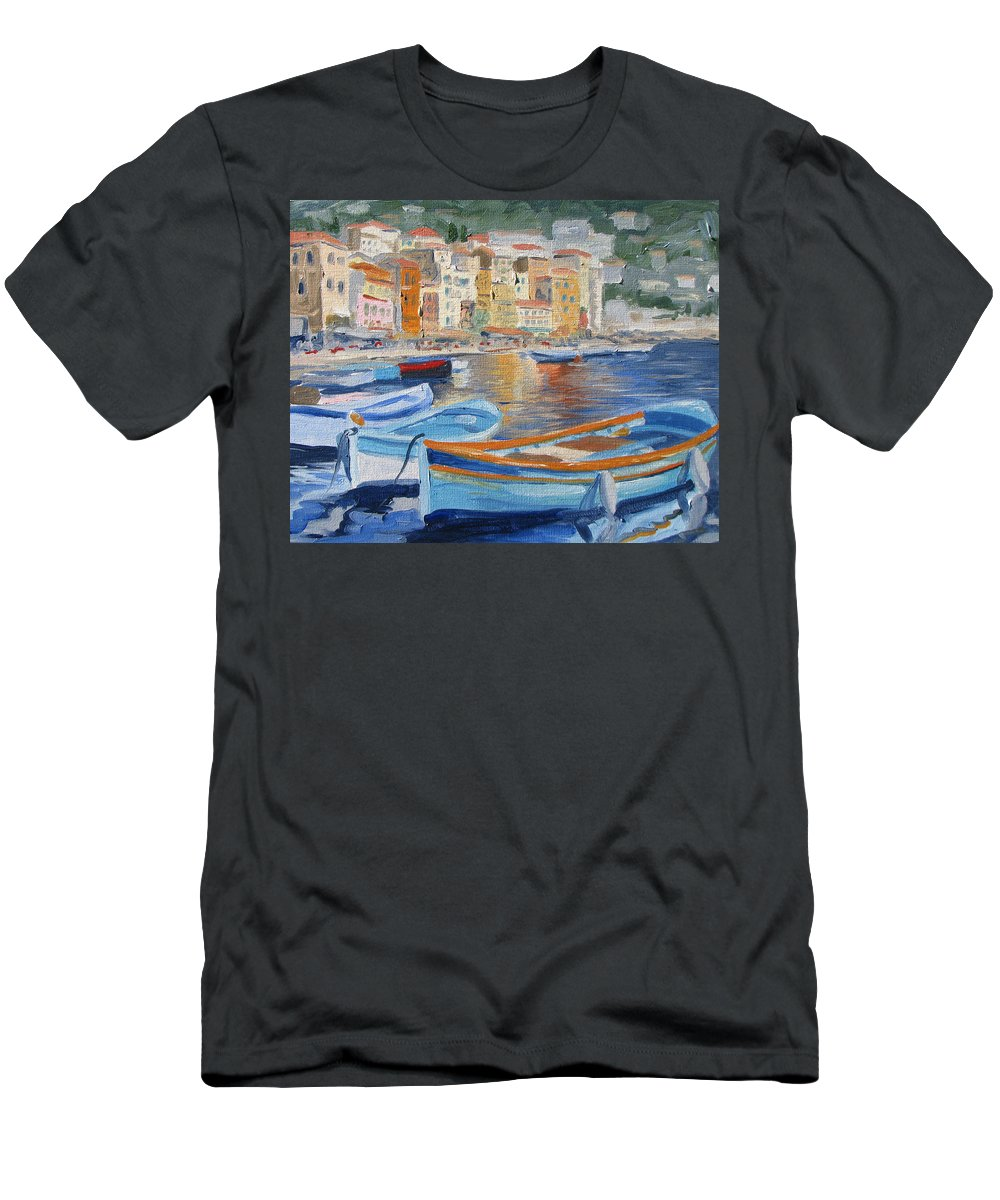 Seascape Men's T-Shirt (Athletic Fit) featuring the painting French Harbor by Jay Johnson