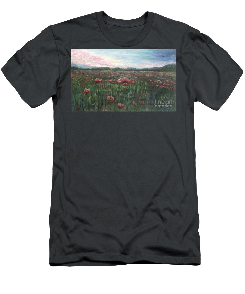 France Men's T-Shirt (Athletic Fit) featuring the painting French Poppies by Nadine Rippelmeyer